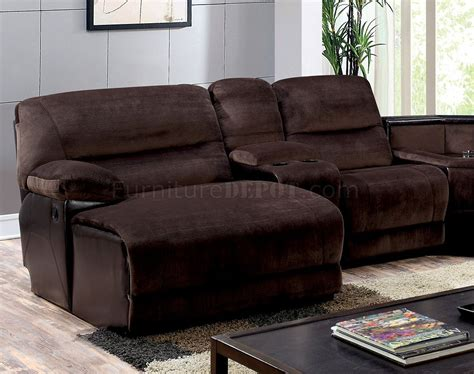 brown microfiber sectional glasgow reclining sectional sofa cm6822 in brown microfiber