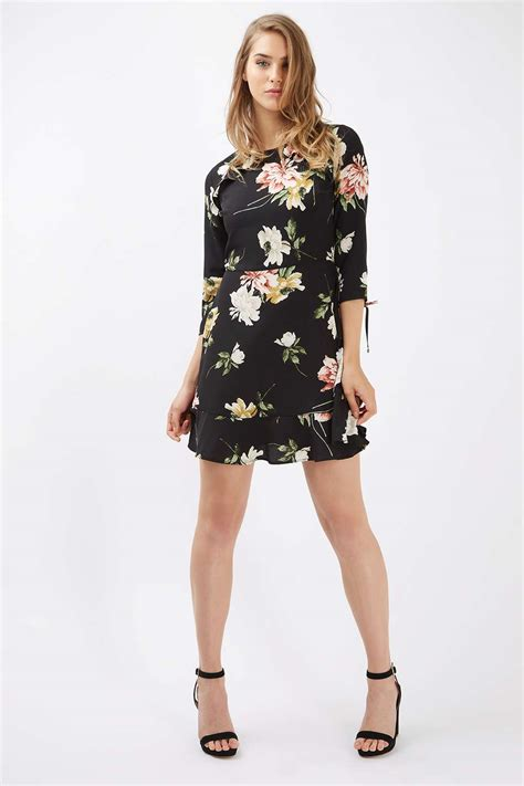 paint floral frill tea dress topshop