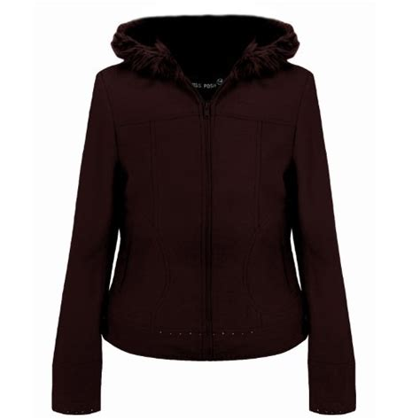 Choco Blazer Fleece miss posh womens fleece zipped hooded jacket coat chocolate 16 top fashion shop