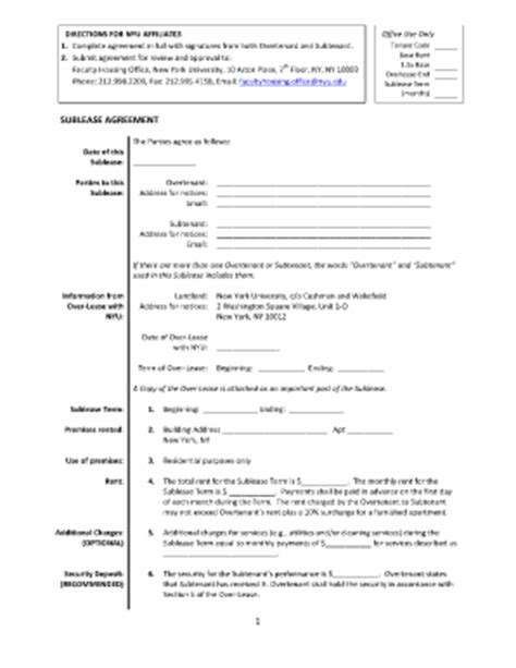 Sublet Contract Template Sublease Agreement Template Nyc