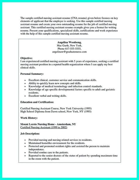Nursing Assistant Resume Qualifications Writing Certified Nursing Assistant Resume Is Simple If You Follow These Simple Tips Some