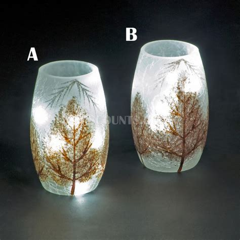 snowtime 10 led white illuminated glass glitter trees