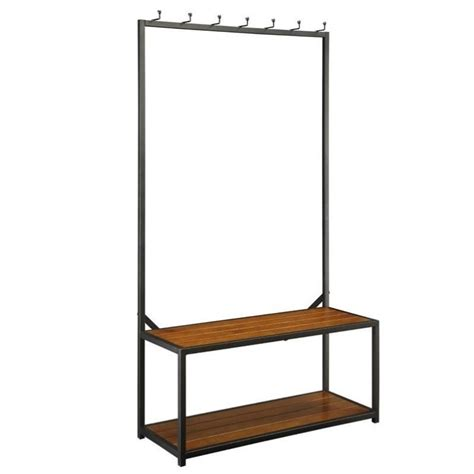 coat racks with bench carolina classic nora metal coat rack bench in black cf4016