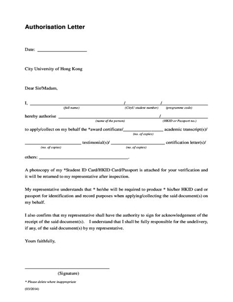 Authorization Letter Hong Kong authorization letter sle free