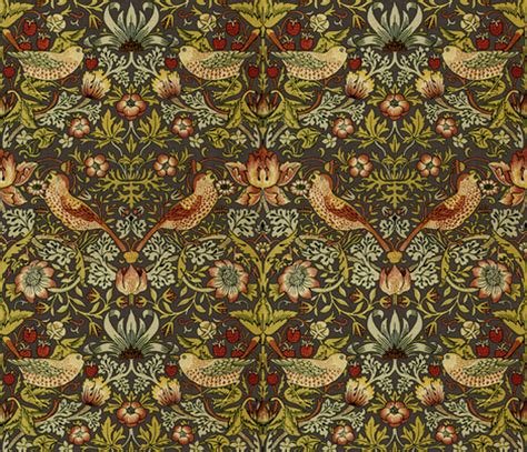 Morris Custom Upholstery by William Morris Strawberry Thief Autumn Linen Fabric By