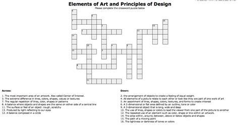 design of font crossword clue crossword elements and principles of design