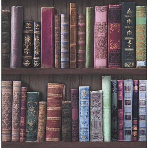 wallpaper bookshelves fresco wallpaper bookcases multicoloured at wilko