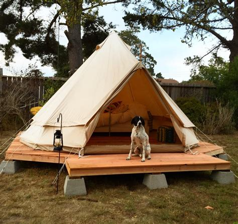 tent deck simple wood platform on cinder blocks backyard yurt tent