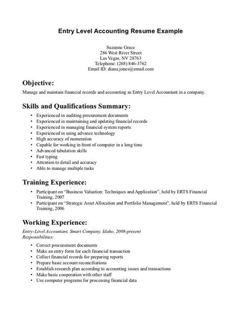 Resume Objective Exles Entry Level Accounting 286 Best Images About Resume On Entry Level 2017 Yearly Calendar And Exle Of Resume