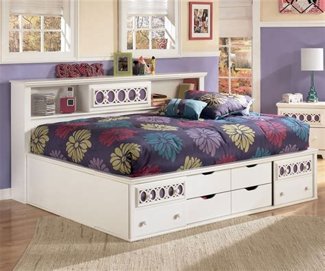 storage beds full zayley bookcase storage bed full size bedroom furniture beds