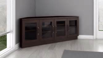 Corner tv stand and media console in a wenge finish furnitech