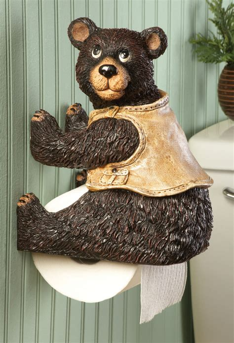 bear toilet paper holder bear bears theme themed home accent kitchen restroom