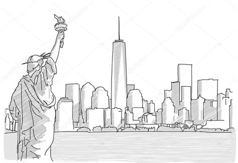 free hand sketch of new york city skyline with statue of