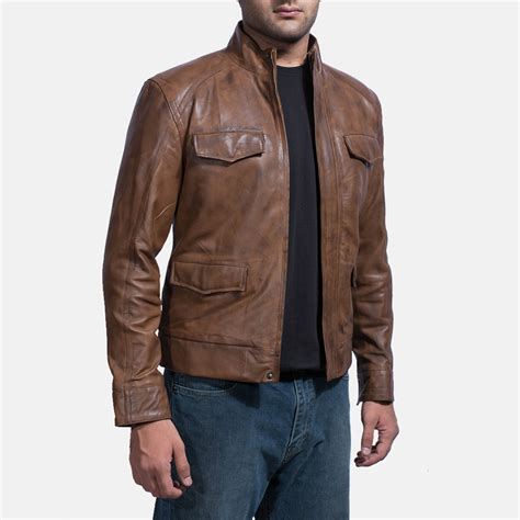 brown leather jacket mens smudge brown leather biker jacket