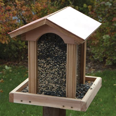 shop woodlink coppertop 174 cedar hopper bird feeder at lowes com