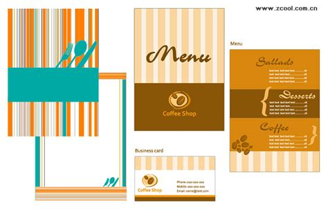 business menu template 4 designer dining menu and business card template vector