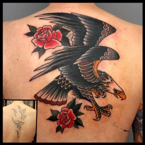 eagle tattoo cover up traditional eagle back piece cover up tattoo love