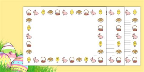 easter card templates twinkl easter page borders landscape page border border