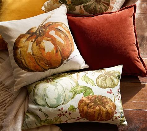 Pottery Barn Pumpkin Pillow by Watercolor Painted Pumpkin Patch Lumbar Pillow Cover