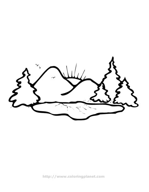 free coloring pages of mountain scenery
