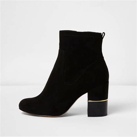 Block Heel Ankle Boots black block heel gold trim ankle boots shoes boots
