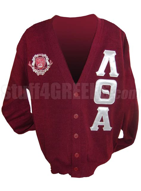 Cs R Sweater lambda theta alpha letter cardigan with crest crimson