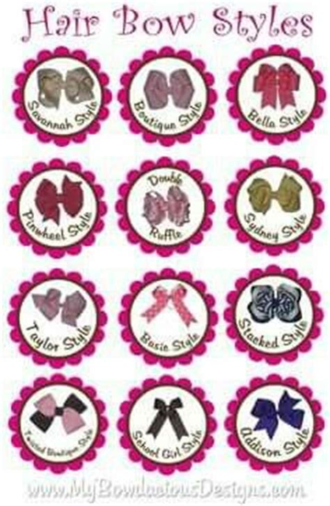 Different Type Of Hair Bows by Names Of Bow Styles Bow Types Styles Bows