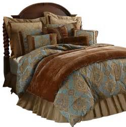 damask sky blue comforter set king traditional