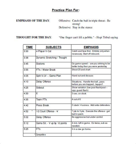 football practice plan template 13 practice schedule templates word excel pdf free