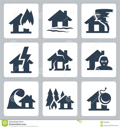 Vector Property Insurance Icons Royalty Free Stock Photo