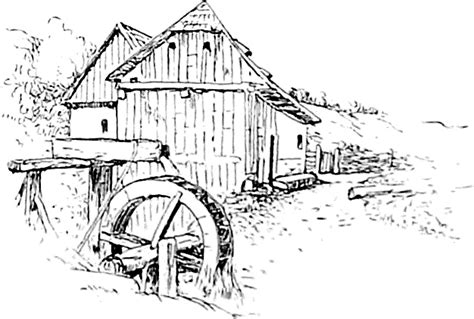 water wheel coloring page watermill coloring pages coloring pages