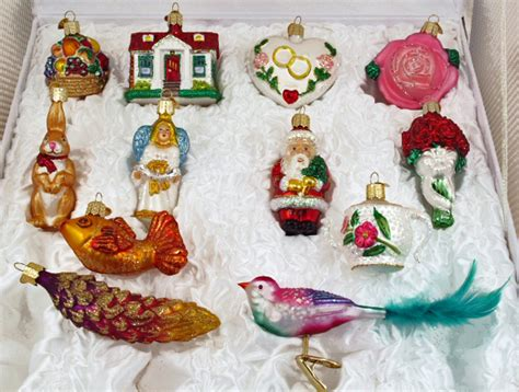 bridal tree 12 glass ornaments boxed wedding set old world