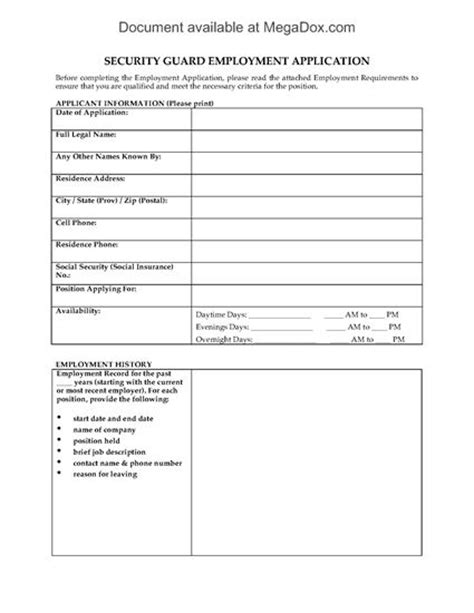 Security Guard Employment Application Form Legal Forms And Business Templates Megadox Com Security Guard Schedule Template