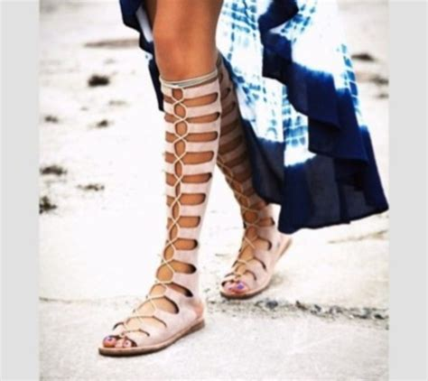 shoes sandals knee high lace up tie up string gladiators bohemian wheretoget