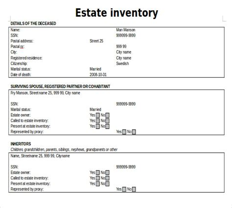14 estate inventory templates free sle exle