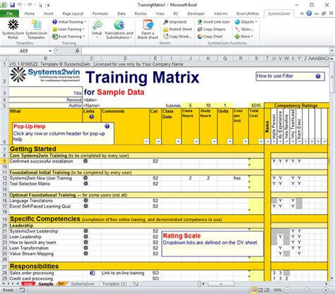 Training Matrix Skills Matrix Template Excel Skills Assessment Template