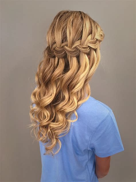prom hairstyles with braids waterfall braid with mermaid waves great bridal prom or