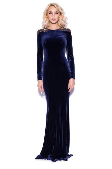Maxi Prissia Velvet Blue velvet maxi dress with gold sequins rs8216 nissa