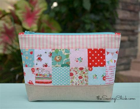 zippered pouch sewing pattern patchwork zipper pouch tutorial by the sewing chick