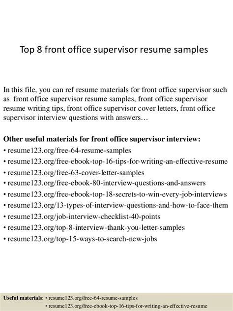 front desk supervisor resume exle top 8 front office supervisor resume sles