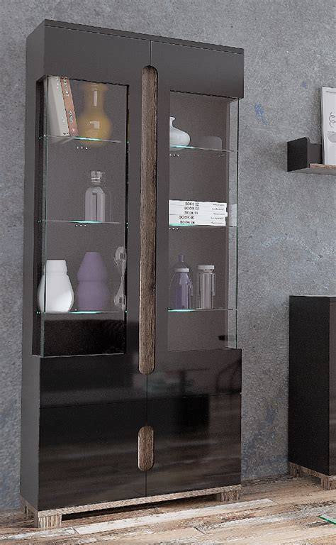 Black Gloss Display Cabinet   Furniture Factor UK