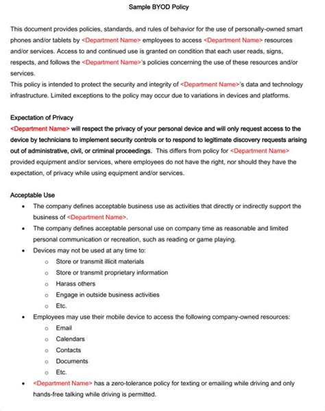 mobile phone policy template cell phone policy workplace sle pdf template business