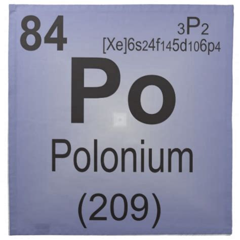 Po On Periodic Table polonium individual element of the periodic table napkin
