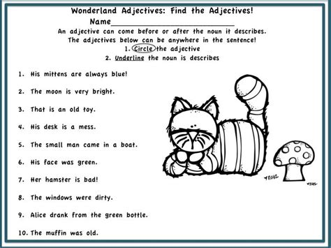 alice in wonderland printable activity sheets alice in language land adjectives and adverbs don t let