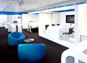 media office interiors modern office interior design and stylish blue chair the