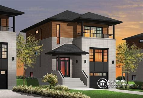 narrow lot modern house plans house plan w3473 detail from drummondhouseplans