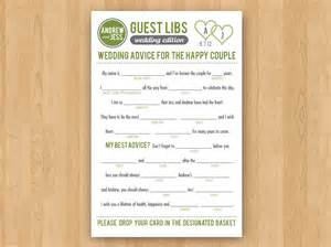 wedding libs template diy printable wedding mad libs guestbook colors customizable