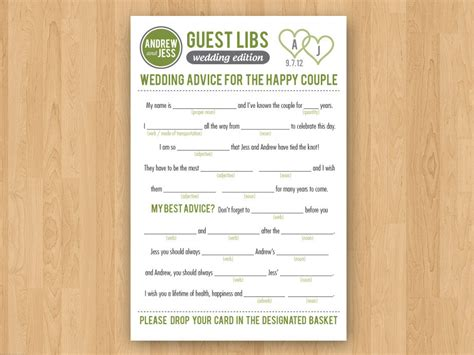 guest libs wedding edition template diy printable wedding mad libs guestbook colors customizable