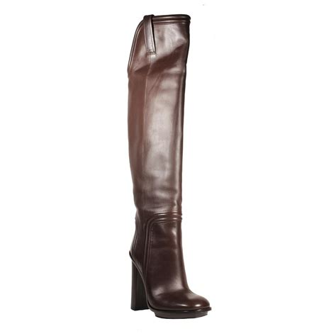 gucci womens boots leather cocoa lifford brown