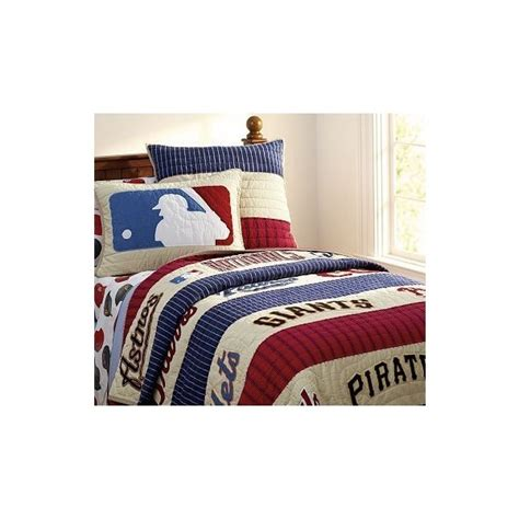 Pottery Barn Baseball Quilt national league quilted bedding pottery barn found on polyvore quinn s baseball room